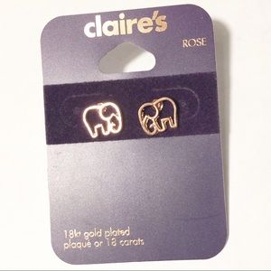 Claire's Rose Gold Elephant Earrings
